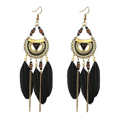 Ethnic Feather Dangling Earrings for Womens, Mitiy Bohemian Long Eardrop for Weddings Parties Black