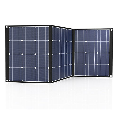 TISHI HERY 100W 12V Portable Solar Charger Foldable Monocrystalline Solar Panel Charger with MC4 Connector for Outdoors, Camping, Solar Generator, RV, Boat.