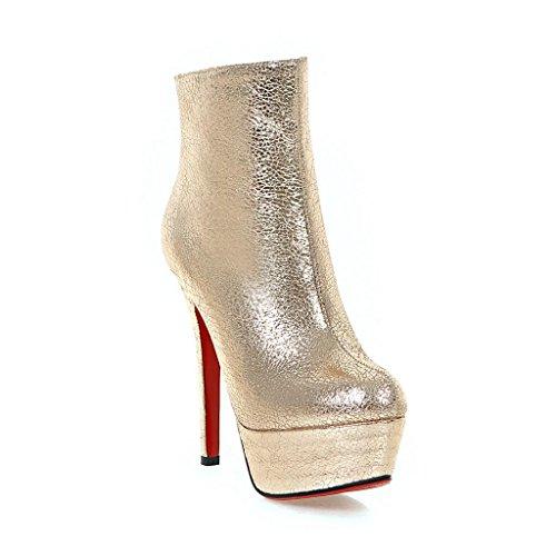 Noche artificial nocturno Botines alto PU redonda Tacón Estilete Zapatos Club Oro Otoño invierno Cabeza Impermeable Mujeres Ha7qzxa