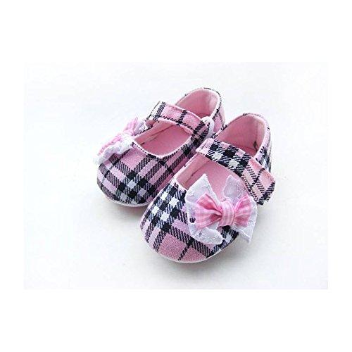 Zapatillas para bebé de 0 a 12 meses, diseño de tartán, color rosa, 3 meses, 6/6/9/0 meses, 3 meses, 9/12 meses rosa rosa Talla:6/9 mois