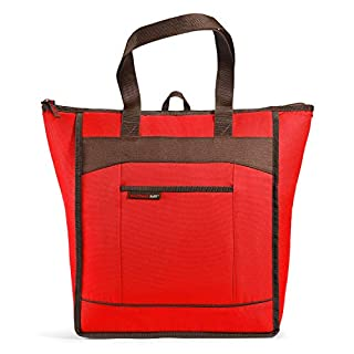 Rachael Ray ChillOut Thermal Tote Bag for Cold or Hot Food, Insulated, Reusable, Red
