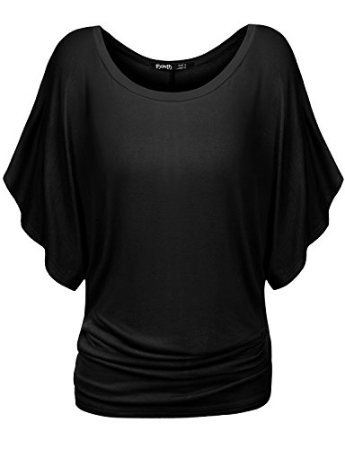TWINTH Dolman Drape Tunic Plus Size Side Shirring Loose Fit Short Sleeve Top T-Shirts Black 2XL