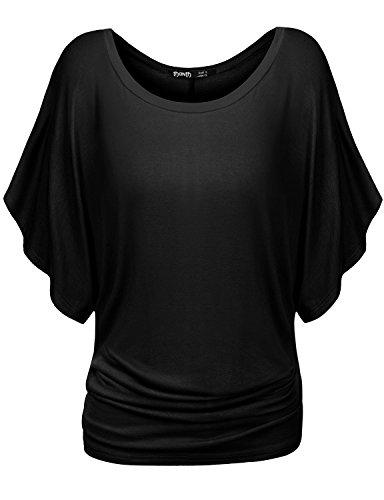 Thanth Womens Short Kimono Sleeve Boat Neck Dolman Top BLACK X-Large