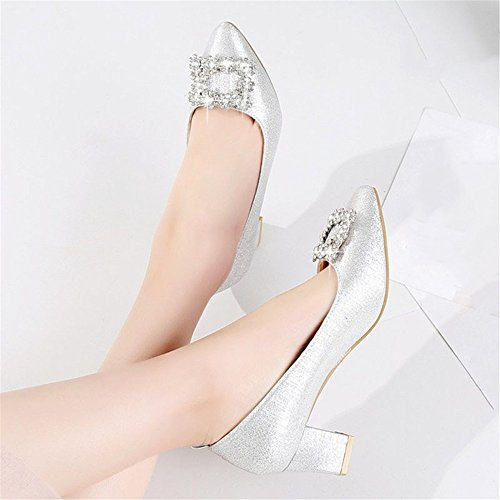 Autumn Tie Shoes Crystal Season Silver And Shoes Spring And High Heel Shoes HXVU56546 Women'S With A pqPEH7z