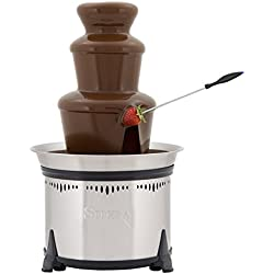 Sephra Classic Home Fondue Fountain, 18-Inch Chocolate Fountain Electric, Stainless Steel Heated Basin, Chocolate Fountain Kids, Whisper Quiet Motor, 4 To 6 Pound Capacity, Serves 40