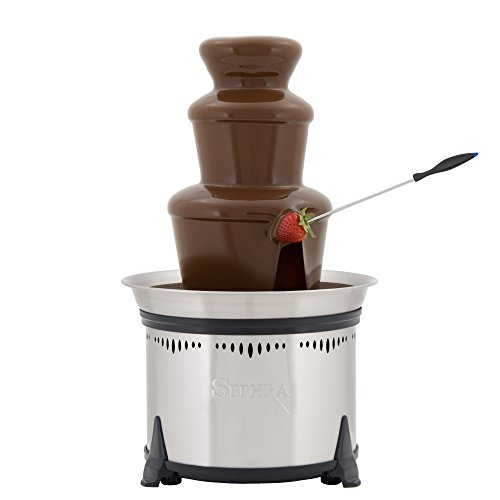 Sephra Classic Home Fondue Fountain, 18-Inch Chocolate Fountain Electric, Stainless Steel Heated Basin, Chocolate Fountain Kids, Whisper Quiet Motor, 4 To 6 Pound Capacity, Serves (Best Chocolate Fountains)