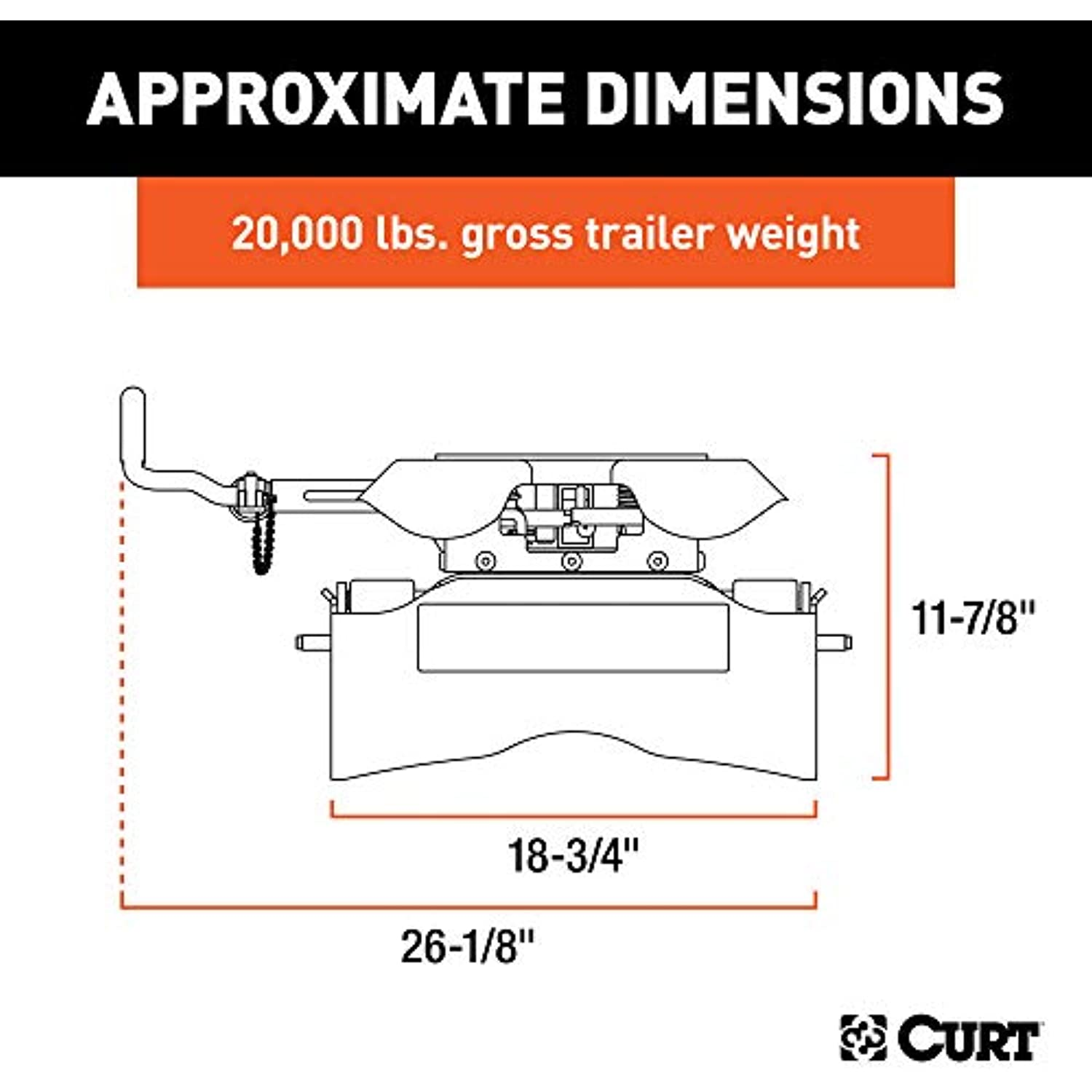 CURT 16530 Q20 5th Wheel Hitch Head Only, Legs or Roller Required, 20,000 lbs