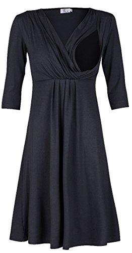 Zeta Ville - Premamá Vestido de lactancia efecto 2 en 1 capa - para mujer - 787c Azul Gris