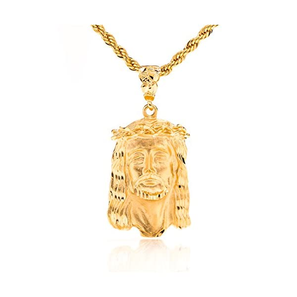 Beautiful-Jesus-Piece-Pendant-Necklace-Face-of-Christ-on-20-Rope-Chain-24K-Gold-Overlay-Fashion-Jewelry-100-FREE-LIFETIME-REPLACEMENT-GUARANTEE-Great-for-Religious-Gifts
