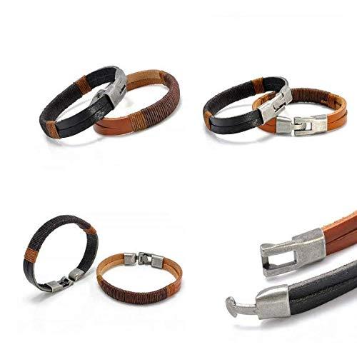 ERAWAN New Surfer Men's Vintage Hemp Wrap Leather Wristband Bracelet Cuff Black Brown EW sakcharn (Black) by Hithop (Image #3)