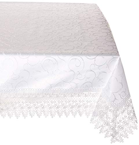 HomeCrate Flower Bow Vintage Lace Design tablecloths, 60