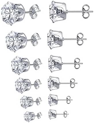 Zhenhui Women Stainless Steel Round Clear Cubic Zirconia Stud Earrings Set Pack of 6 Pairs