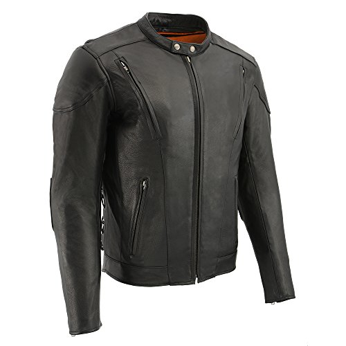 Milwaukee Men's Side Lace Vented Scooter Leather Jacket (Black, Large)
