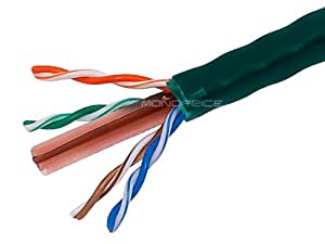 Monoprice 1000-Feet 23AWG Cat6 500MHz UTP Solid Riser Rated, CMR Bulk Ethernet Bare Copper Cable, Green (108105)