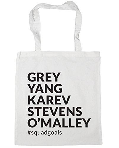HippoWarehouse Grey Yang Karev Stevens O´Malley Squadgoals Bolso de Playa Bolsa Compra Con Asas para gimnasio 42cm x 38cm 10 litros capacidad Blanco