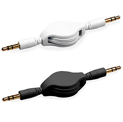 AUX Cord for Car 2 Pack (3.3 Feet) in Black / White - Retractable AUX Cable with 3.5 mm AUX Jack - CD Player AUX Cord Extension Audio Wire - Long Auxillary Stereo Connector for Stereo Speakers - Compact Shielded Speakers