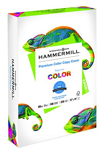 Hammermill Paper, Premium Color Copy Cover Cardstock, 17x11 Paper, 60lb Paper, 100 Bright, 1 Pack / 250 Sheets (122556R) Heavy Paper, Card Stock White
