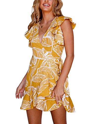 Blooming Jelly Womens V Neck Dresses Floral A-line Wrap Surplice Ruffle Swing Mini Sun Dress(XL,Yellow)