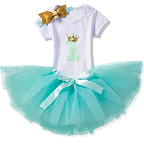 NNJXD Girl Crown Tutu 1st Birthday 3 Pcs Outfits Romper+Dress+ Gold Headband Size (1) 1 Year Green