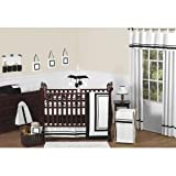 Contemporary White and Black Modern Hotel Baby Boy Girl Unisex Bedding 9pc Crib Set by Sweet Jojo Designs
