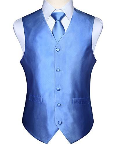 HISDERN Men's Solid Check Jacquard Waistcoat & Necktie and Pocket Square Vest Suit Set Baby Blue (Dress Jacquard Coat)