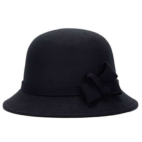 Women 1940 Hats (Pierre LaMarreDS Elegant Ladies Vintage Winter Hat Bowknot Fedora Bowler Cap)
