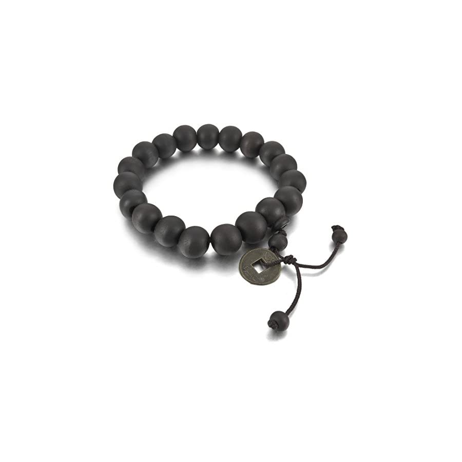 INBLUE Men's 2PCS 11mm Wood Bracelet Link Wrist Tibetan Buddhist Beads Prayer Mala Amulet Coin Set Elastic