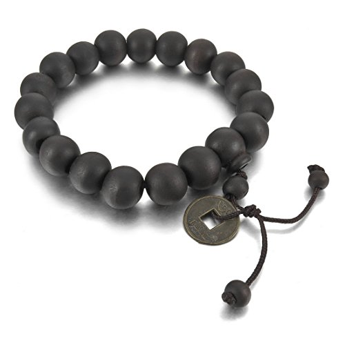 INBLUE Men's 2PCS 11mm Wood Bracelet Link Wrist Tibetan Buddhist Beads Prayer Mala Amulet Coin Set Elastic