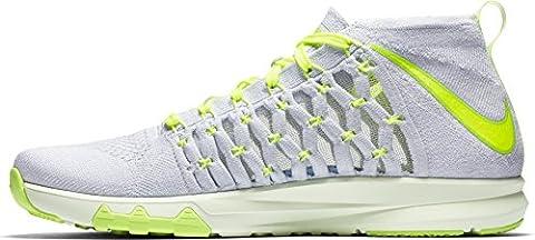Nike Train Ultrafast Flyknit Size 9 Mens Cross Training Pure Platinum/Volt-Ghost Green-Volt Tint (Nike 5 0 Men Green)