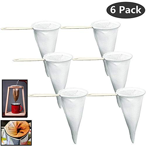 Pack of 6 Colador Cafe Cloth Coffee Tea Strainer, Lot of Strainers in Bulk, Strainer Filter Cloth Mesh, with Plastic Handle by TSYWARE