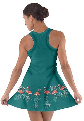 Green Flamingo Flamingo Summer Dress Racerback Cotton Womens CowCow TgUqPw