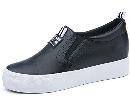 Compras Señora Pu Pequeño Zapatos Nvxie Escuela Black Interno Retro Verano Estudiantes Negro Blanco Aumento Ocio g77fn4q8