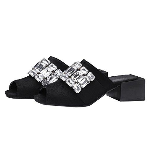 Estimados Mujeres Time Rhinestones Mules Chunky Heels Slides Sandals Black