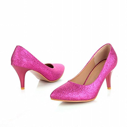 Carol Shoes Women's Bling Bling Fashion High Heel Sequins Stiletto Dress Shoes Rose Red A7awxdhe4