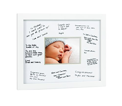 Pearhead Signature Frame Guest Book - Perfect for any Baby Registry, Includes Mat for Guests to Leave Well-Wishes- Great for Celebrating Baby Showers, Birthdays or any Special Event, White