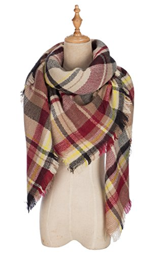 Lilbetter Stylish Warm Blanket Scarf Gorgeous Wrap Shawl  C Black Claret