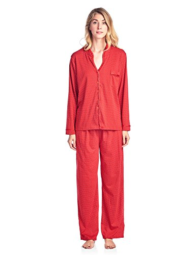 Casual Nights Women's Long Sleeve Floral Lace Trim Pajama Set - Red - Medium
