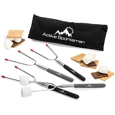 45  Extra Long Telescoping Marshmallow Roasting Sticks - LONGEST ON AMAZON - 4 Pack Campfire Hotdog & Smores Roasting Forks
