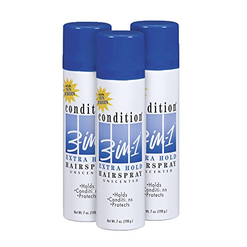 Condition 3 In 1 Sunscreen - Condition 3-in-1 Extra Hold Unscented Hairspray, 7 Ounce (Pack of 3)