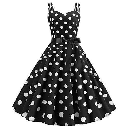 Kiasebu Women's Rockabilly 50s Vintage Polka Dots Halter Cocktail Swing Dress Sleeveless Tea Dress with Belt Black