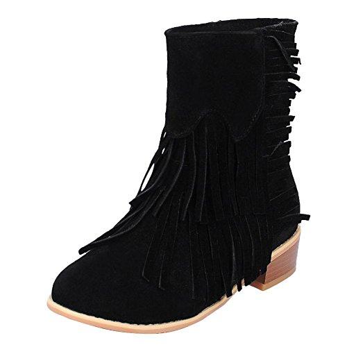 Charm Fot Kvinna Mode Tofsar Dra På Låg Häl Kort Höst Boots Svart