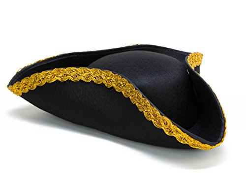 Deluxe Colonial Tricorn Hat (Hat Pirate Felt Black)
