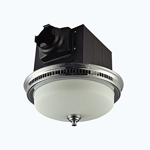 Lift Bridge Kitchen & Bath DRND110CRM Decorative Chrome Plated 110CFM Ceiling Light and Glass Globe Exhaust Bath Fan,