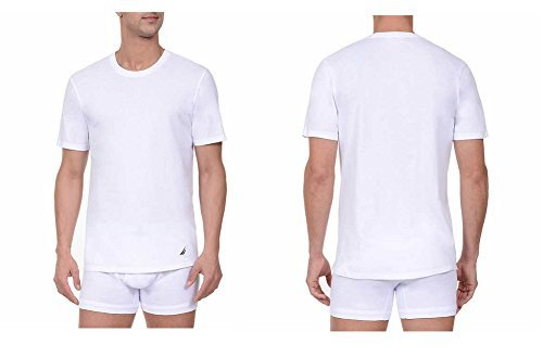 Nautica T-Shirt, Tagless, Crew Neck, Stretch, Super Soft Cotton, Classic Fit, With Logo 3 Pair (White 3 Pair, (Nautica White Shirt)
