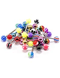 20 pcs Assorted Tongue Rings straight barbells 14G Surgical Steel Ip plated and acrylic balls NO DUPLICATE Randomly Picked