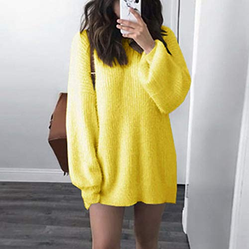Vrac Chaud Chemisier Tricot Manche Femmes Chandail Neck Mode Longue O Jaune en Magiyard Latern Solide SnYq08