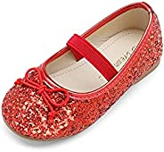 DREAM PAIRS Girl's Toddler Dress Shoes Mary Jane Glitter Ballerina Flat Shoes for Kids Tod