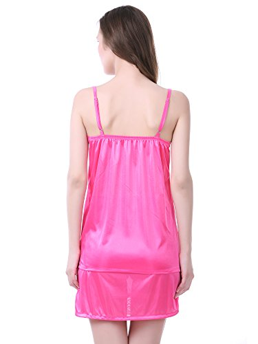 03010cb3fa Claura Women s Satin Pack of 6pc Night Dress  1 NIGHTY+1 ROBE+1TOP+1 CAPRI+1  SPAGHETTI TOP+1 SHORT SKIRT  (Pink) - Buy Online in KSA.