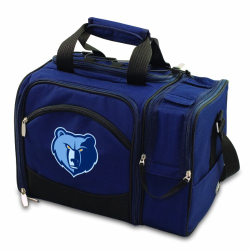 NBA Memphis Grizzlies Malibu Insulated Shoulder Pack with Deluxe Picnic Service for Two