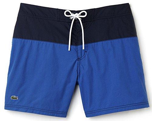 (Lacoste Men's Color Block Taffeta Board Short, Delta Blue/Navy Blue/White,)